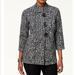 JM Collection Printed Three Button Jacket,